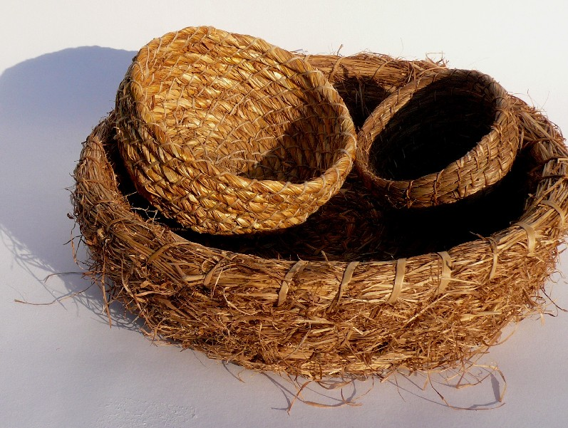 grass baskets, coiled