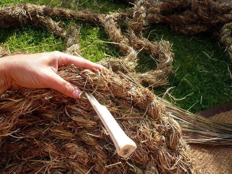coiled hay grass basket