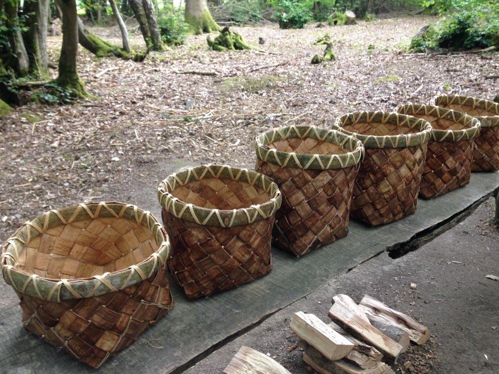 woven bark baskets